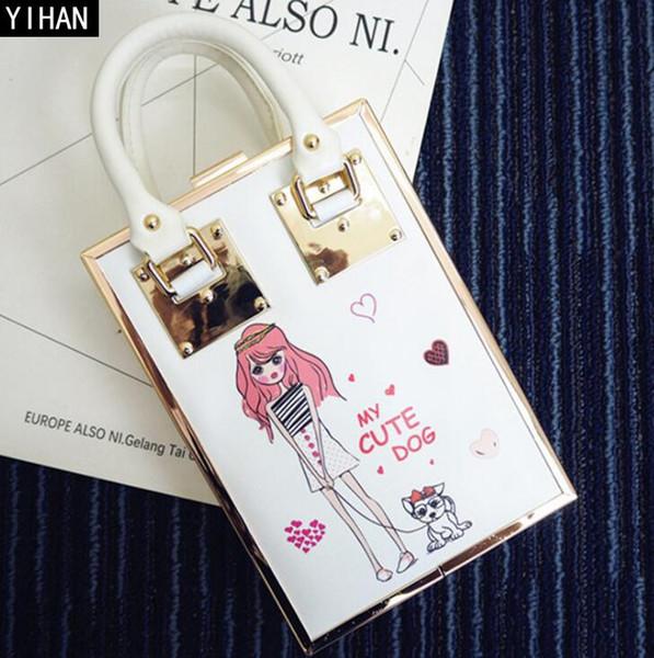 Factory independent brand handbag exquisite high-grade printing woman dinner bag sweet cute acrylic handbag cute girl print hard box handbag
