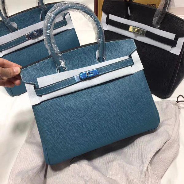 2018 حار 35CM 30CM 25CM العلامة التجارية الكبرى مصمم حقائب اليد حقائب الكتف مع قفل المرأة سيدة حقيقية حقائب جلدية حقيقية الأزياء حقيبة يد