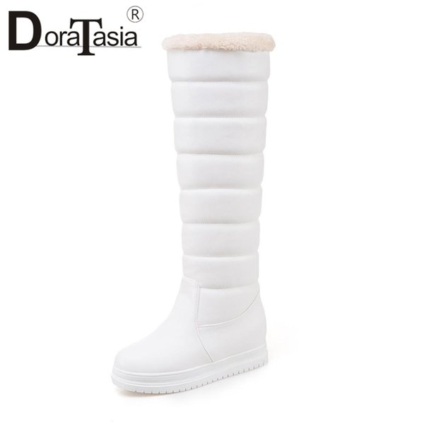 DORATASIA 34-43 Large Size Fashion Knee High Snow Boots Med Hidden Heel Wedges Snow Boots Ladies 2018 Shoes Woman