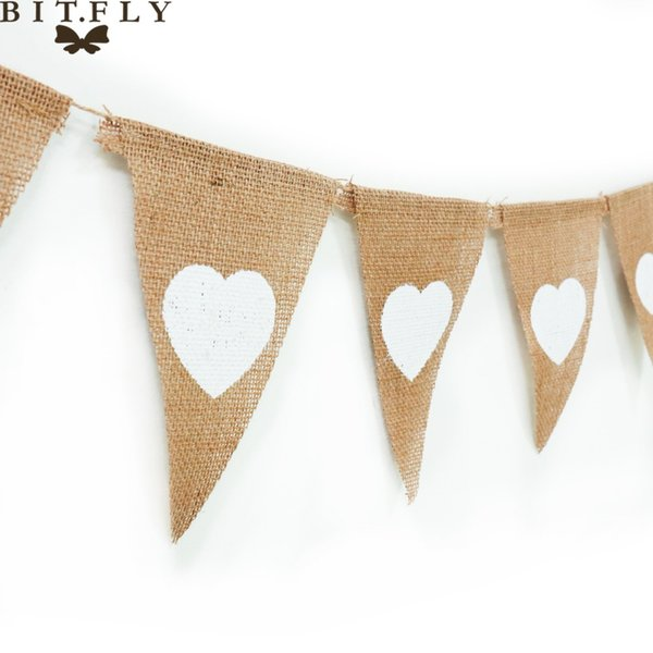 Event Party Holiday DIY Decorations 13 Flag Heart Burlap Bunting Banner Pennant Jute Fabric DIY Decor for Rustic Wedding Party Birthday