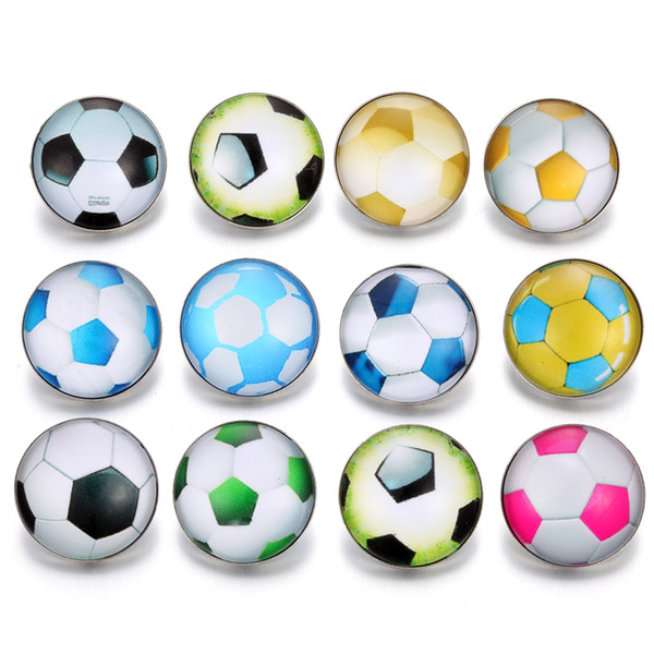 Wholesale Sports football Jewelry Noosa Snaps Buttons chunk Interchangeable jewelry Ginger 18mm Glass Snap buttons for Snap Bracelet Bangle
