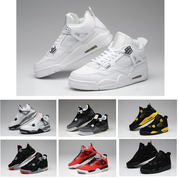 High Quality 4s Basketball Shoes 4 Raptors White Cement Bull Red Black White Chicago Men Women Sneakers Sports Shoes US Size 5.5-13