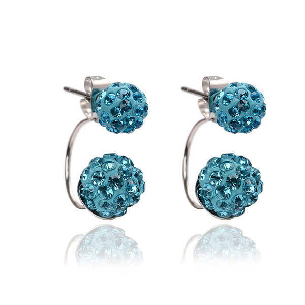 9 Colors Double sided Sh-am-ba-la Ball Stud Earrings Diamond Crystal disco beads Earings 925 Silver plated F-i-n-e Jewelry for women girls