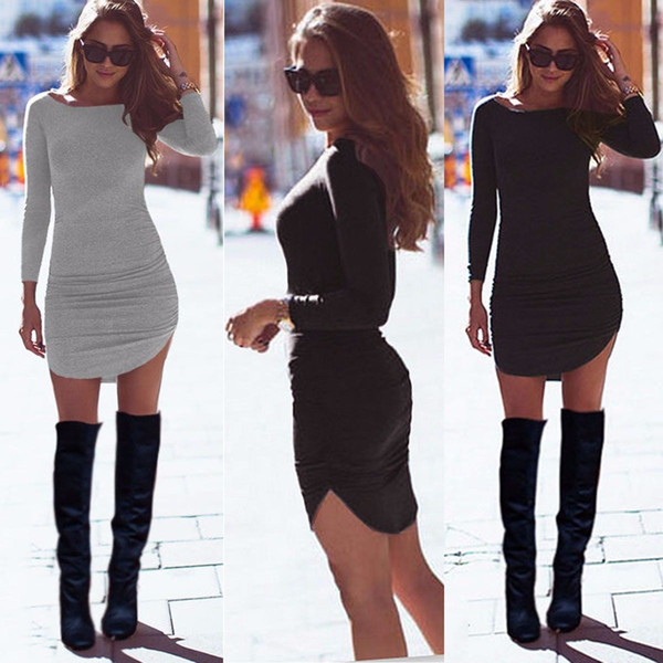 Plus Size Women Clothing 2016 Autumn Long Sleeve Mini Bodycon Tunic Slim Party Sexy Clubwear Side Split Tshirt Bandage Dresses
