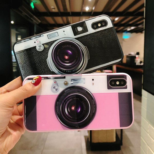 Retro camera shape TPU + glass mobile phone case gift simulation 3D effect lens bracket for iPhone 6 6S 7 8 Plus X
