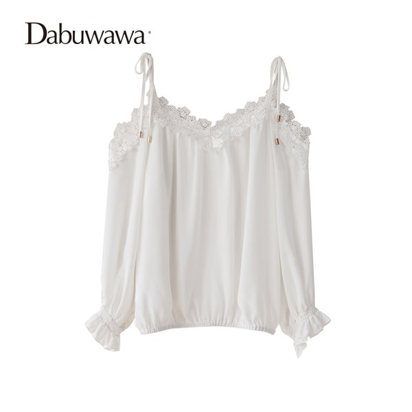Dabuwawa White Spring Ruffle Shirt Long Sleeve V Neck Womens Tops And Blouses Sexy Open Shoulder Chiffon Lace Blouse