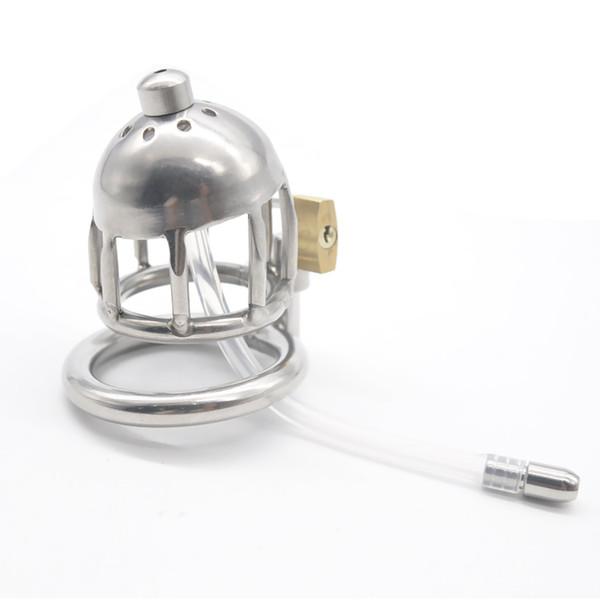Dispositif de chasteté en acier inoxydable Boundage mâle court Cage Gimp Silicone Tube Nouveau Chaud venant Chasteté Fétiche Dispositif Pénis Sex toy Adulte A123-1
