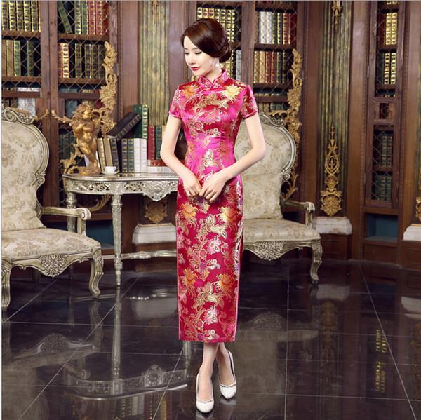 2018 Nova Chegada Hot Pink Mulheres Cetim Cheongsam Chinês Tradicional Longo De Seda Vestido Qipao Flor Tamanho S M L XL XXL XXXL WC056