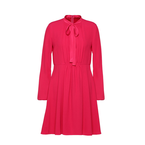 2018 Italy Red Pure Color Long Sleeves Crewneck Lady Ruched Ribbon Bowknot One Piece Dresses Women Shirt Dress MBL916 Red Fall Autumn