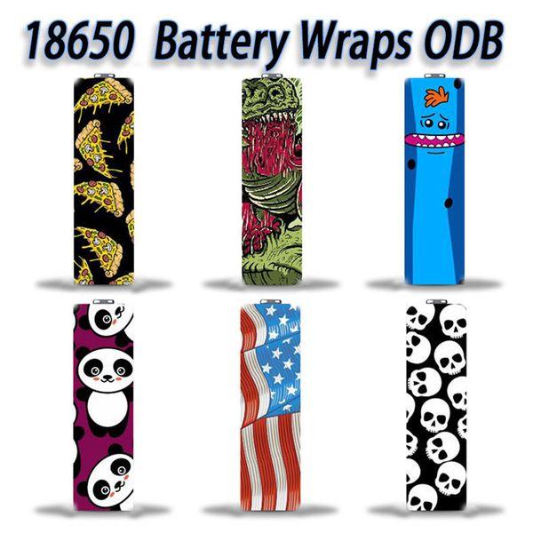 USA Stock 18650 battery Wraps PVC Sticker Shrinkable Wrap Cover Sleeve Heat Shrink Re-wrapping Vapper Wrapper for Batteries Skeleton Skull