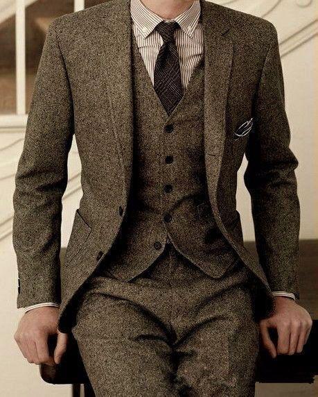 Mais recentes Modelos de Calça Casaco Marca Tweed Terno Homens Set Slim Fit Ternos De Casamento Personalizado para Homens Jaqueta Calças 3 Peça fazenda de madeira Blazer Tuxedo