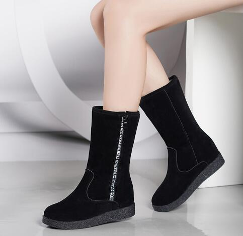 New Women winter black snow Boots Thickened zapatos de mujer Martin Boots a rode Flat Low Zipper Middle Tube Boots Size 35-40