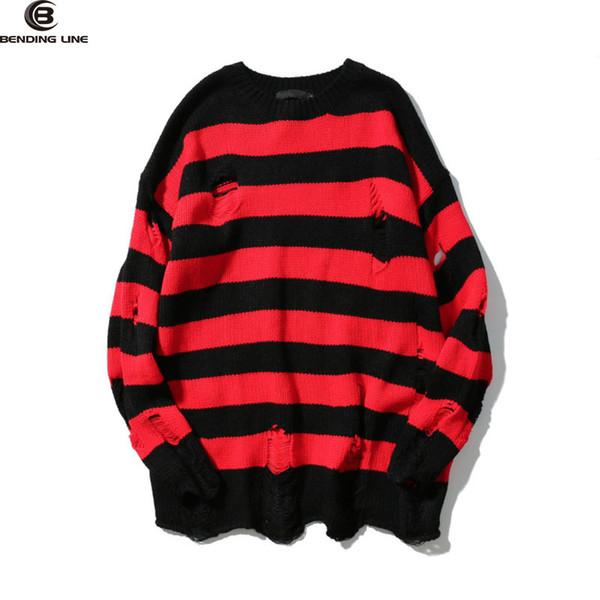 Compre Dos Colores Mens Ripped Holes Sweater Otoño Nueva Vintage De ...