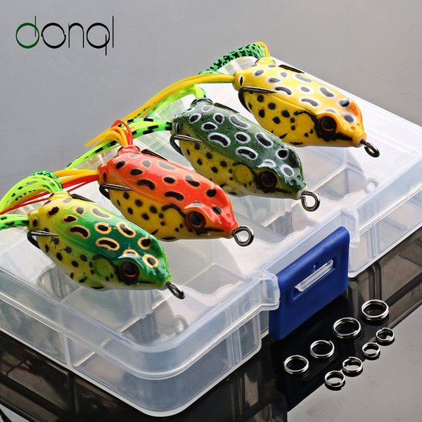 4pcs/Box Soft Frog Fishing Lures Double Hooks 6g 9g 13g Top water Ray Frog Artificial Minnow Crank Soft Bait fishing tackle Y1890402
