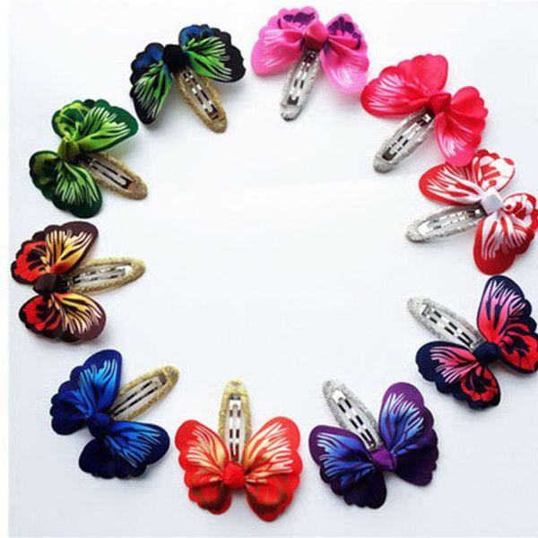 100pcs/lot Fashion Butterfly Clips Whorls 3D Bows Hair Clip For Kids Girls Bobby Pin Children Hair Pins Bows Hair Accessories