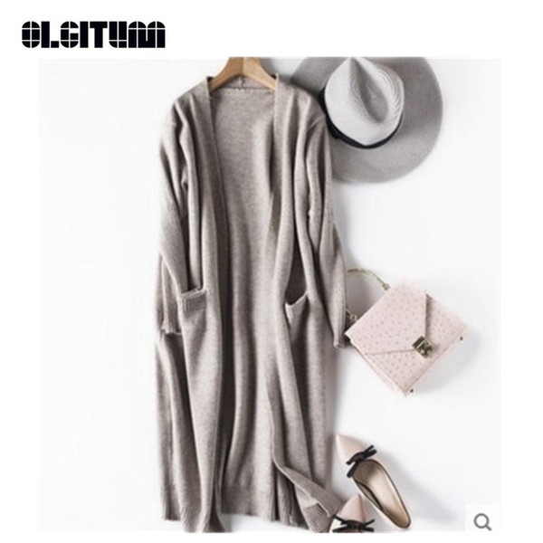 top popular New Fashion 2018 Knitted Cardigan Autumn Winter Style Long Sleeve Loose Thick Knitted Cardigan Female Sweaters Long Coat SW791 2020