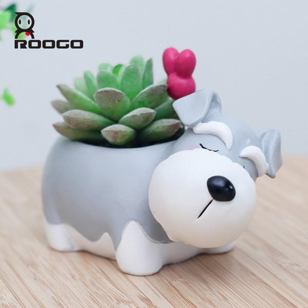 Roogo Decorative Schnauzer Dog Pot Animal Shape Resin Flowerpot Garden Decor Pots Succulent Plants Holder Gift Ideas For Him