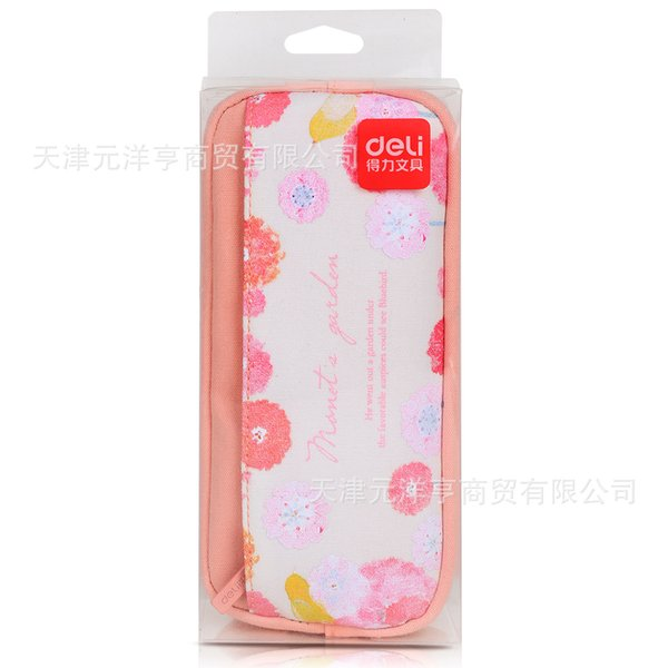 1pcs Deli 66659 Pencil Student Office Pencil Simple Creativity canvas stationery bag Double color selection Wholesale