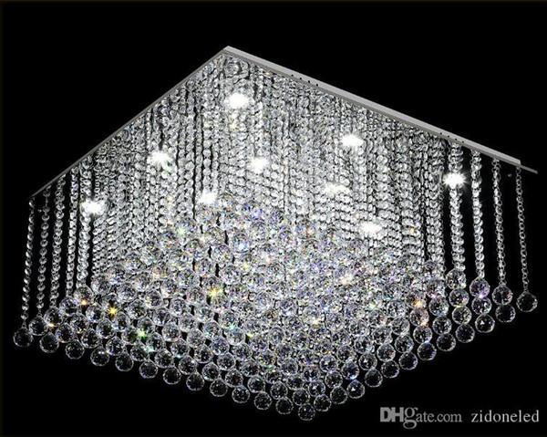 Lustre de Cristal quadrado Contemporâneo K9 Cristal gota de Chuva Luxo Flush Mount LEVOU Luz de Cristal Lustres De Cristal para sala de estar