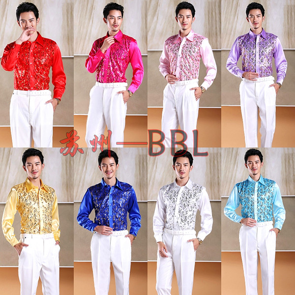 2018 Men Stage Performance Dance Host Sequins Shirts Male Long Sleeve Bling Shirts Costumes Singer Show Gold D202