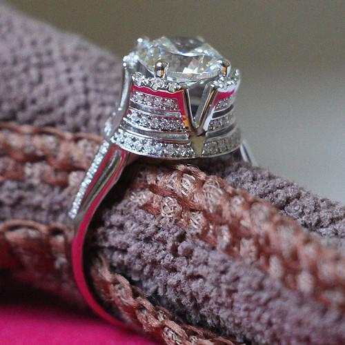 Super Top Quality 3CT Engagement 925 Silver Ring Mount White Gold Color Synthetic Diamonds Anniversary Ring Print