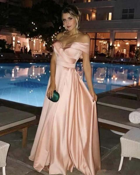 Venta caliente 2019 fuera de los vestidos de noche del hombro Cremallera lado trasero Dividir largo una línea Vestido de fiesta sexy