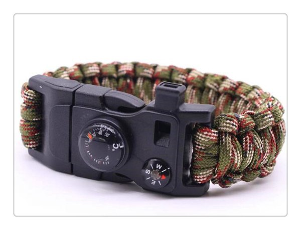 New Camping Hiking Climbing Bracelet Outdoor Survival Gear Kit Whistle Lifesaving Braided Rope Tactical Wrist Band