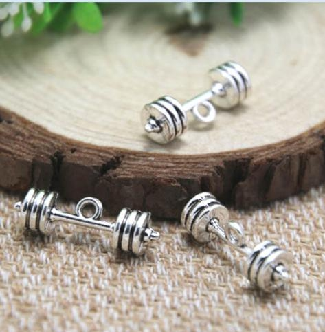 10pcs/lot barbell charms silver tone 3D large barbell charm pendants 25x7mm