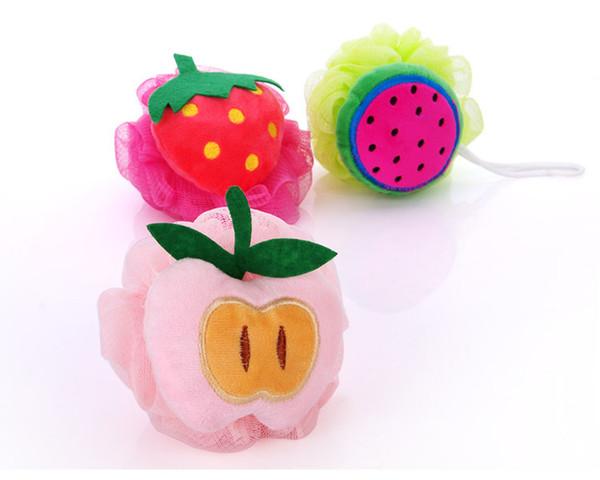 A1 Weiche Baumwolle Kreative Apfel Bunte Badeschwämme Niedliche Fruchtform Duschbad Blumen Kinder Bad Ball Pinsel Wäscher