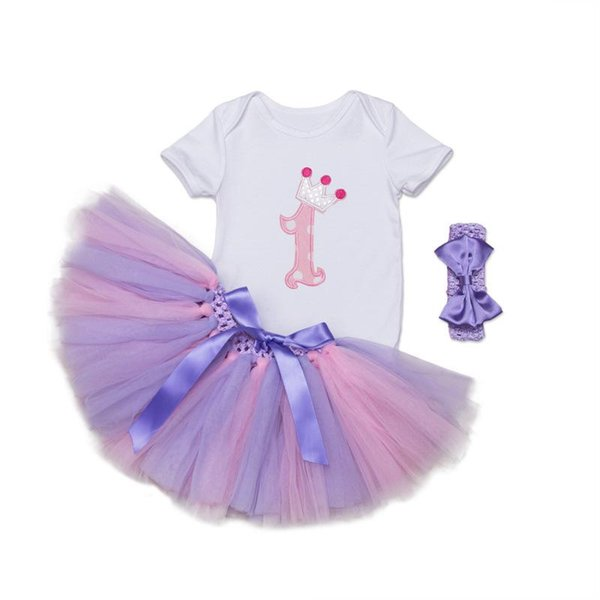 Baby Girl Clothes Sets Baby Rompers Skirt Headband First Birthday Outfits Suits for 1-2 Year Bebes Infant Boutique Clothing Sets