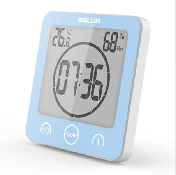 Orologio da bagno digitale Baldr Orologio da doccia impermeabile Orologio a ventosa Countdown Alarm Timer Umidità da parete Orologio termometro digitale