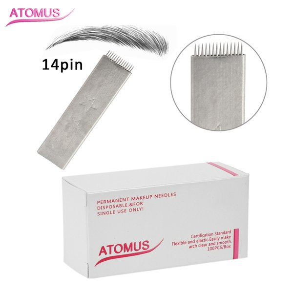 100pcs 14 Pin Flat Head Stitch Shape Microblading Needles 14 Pins Tattoo Needles Curved For Mermanent Makeup Eyebrow Pen Machine White