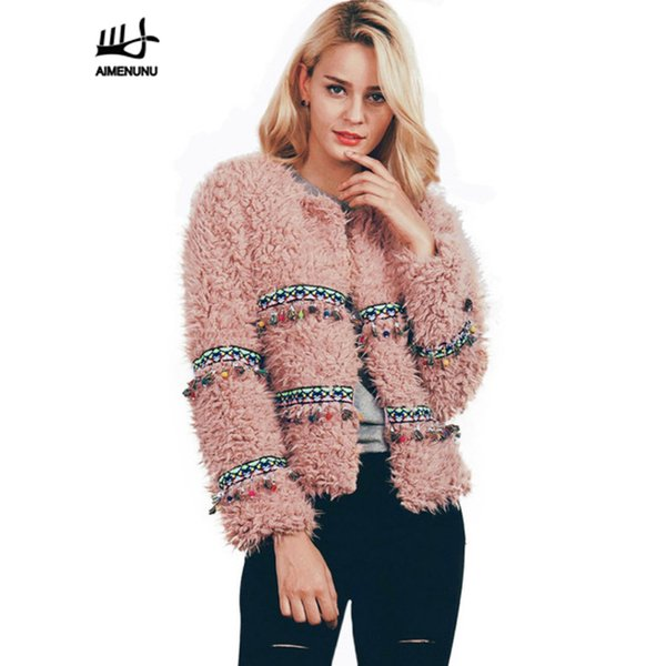 AIMENUNU Winter Quaste Faux Pelzmantel Outwear Jacke Frauen Weiche Warme Kurze Pelzigen Rosa Weiß Parka Lässige Strickjacke Mantel