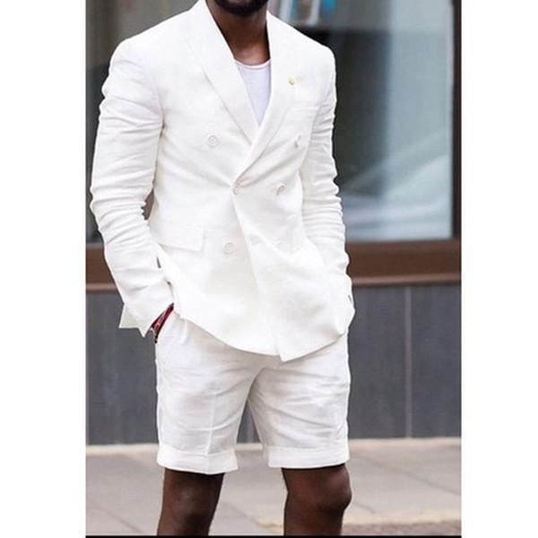 Beyaz Adam Kruvaze Blazer Kısa Pantolon Iki Parçalı Rahat Tarzı Erkek Ceket Düğün Damat Smokin Suits