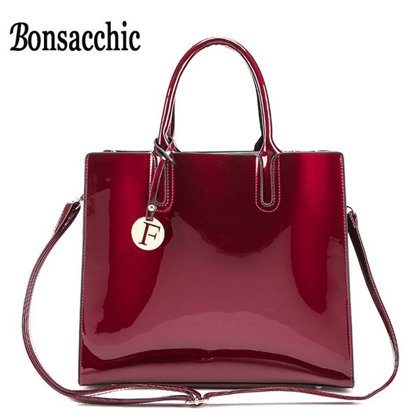 Bonsacchic Red Patent Leather Tote Bag Handbags Women Famous Brands Lady's Lacquered Bag Red Handbag for Women Shoulder Sac