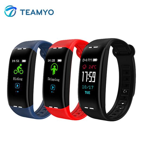 Teamyo banda inteligente monitor de freqüência cardíaca à prova d 'água pressão arterial rastreador de fitness pulseira pedômetro esporte para xiaomi huawei