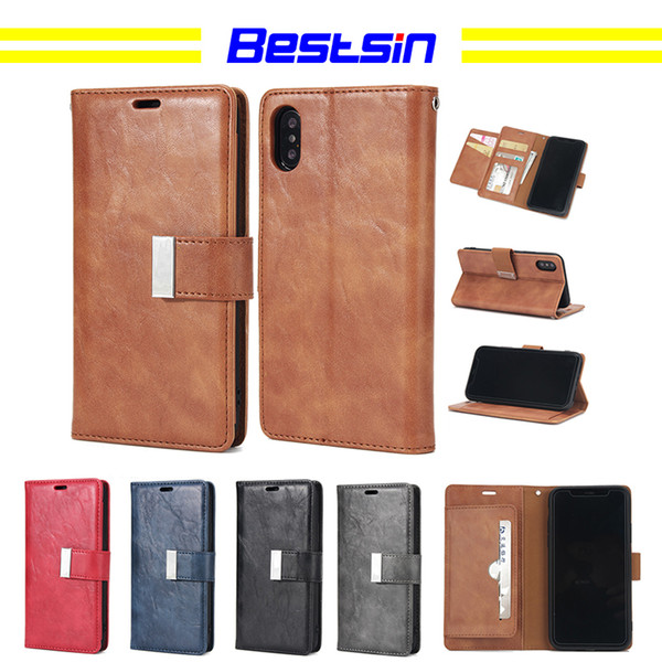 Bestsin Wallet type Multicolored retro crack mobile phone shell For Iphone X case caso del iphone luxury phone case