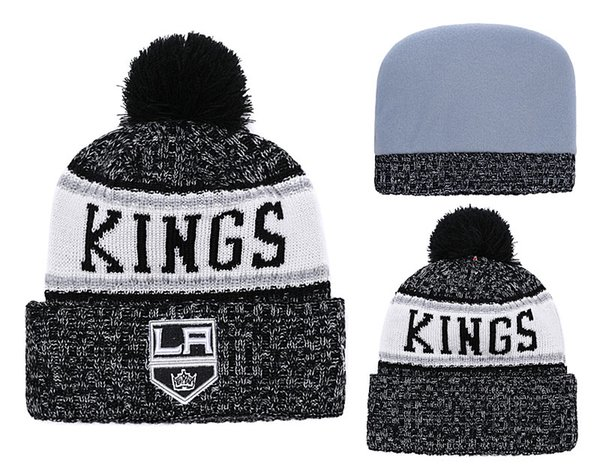 2018 New Kings Sport Ice Hockey LA Knitted Beanies Women's Winter Warm Skull Los Angeles Hats Embroidered Team Logo Beanie Caps