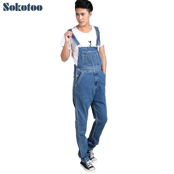 Sokotoo Men's plus size denim overalls Male casual large size jumpsuits Fashion loose blue denim cargo bib pants Free shipping