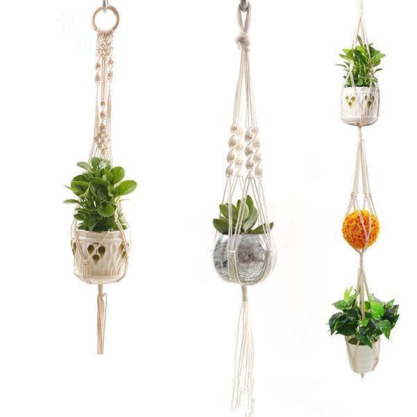 Pflanzenaufhänger Natürliche Baumwolle Seil Häkeln Korb Blumentopf Net Halter Container Korb Hängen Blumentöpfe Dekorative Multi Design