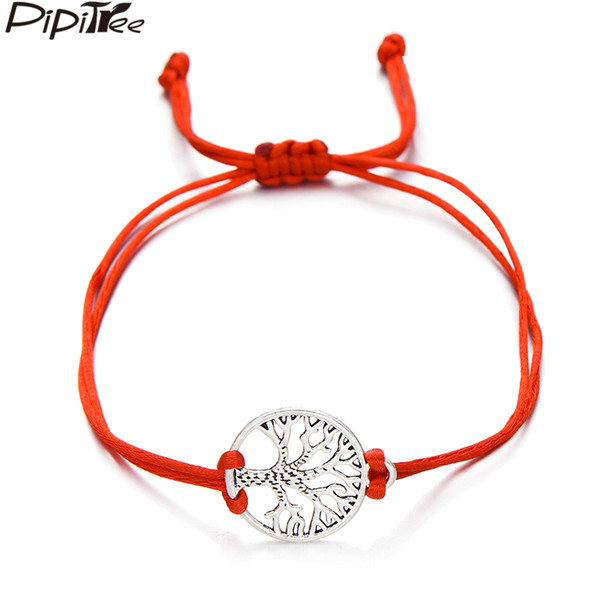 Pipitree Hollow Life Tree Charm Bracelets Femme Handmade Jewelry Adjustable Red String Bracelet for Women Kids Friend Lover Gift