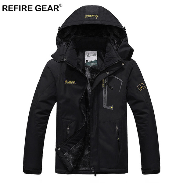 ReFire Gear Waterproof Outdoor Sport Hiking Jacket Men Winter Thermal Hooded Fleece Windbreaker Jackets Camping Skiing Mountain Y1893006