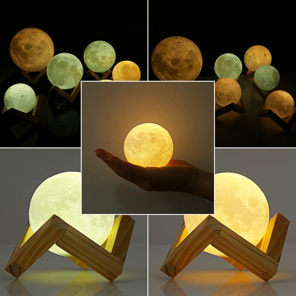 top popular 3D Magical Moon Lamp 2018 3D Magical LED Luna Night Light Moon Lamp Desk USB Charging Touch Control Gift 2021