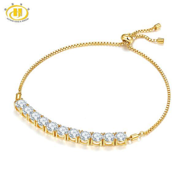 Hutang 10.25 pollici braccialetto regolabile in oro giallo solido in argento sterling 925 per il regalo di gioielli moda femminile delle donne