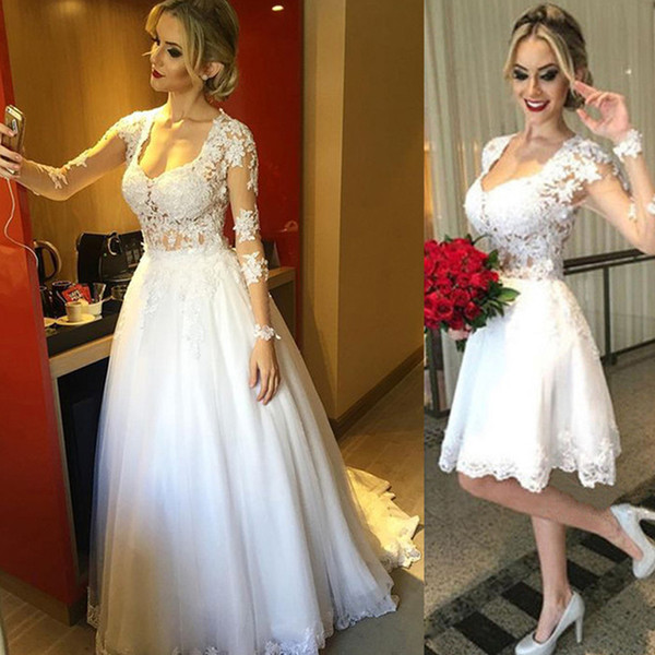 Sexy Two in One Wedding Dress Scoop Neck Illusion Long Sleeves Sheer Top Detachable Long Over Skirt Short Bridal Gowns Lace Appliques