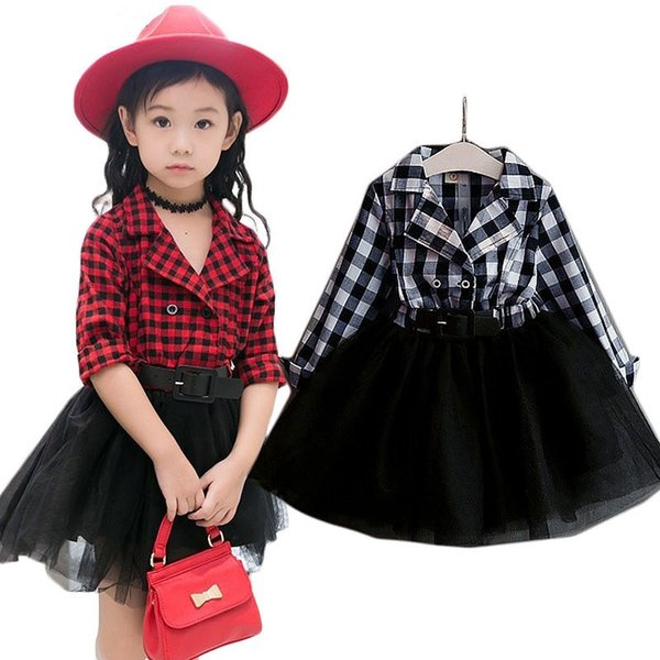 Fashion Girls Tutu Dresses Children's Costumes Sweet Spring Autumn Kids Girls Dress Plaid Full Sleeve Kids Outfits Vestidos