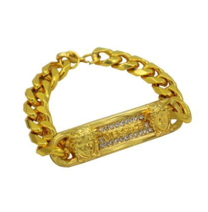 Sand Blast Armband kubanische Kettenglied Legierung Iced Out Hip Hop Gold Silberton Schwer 18 MM Herren Armband