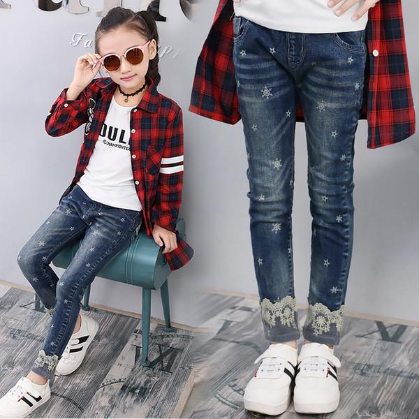 3-12 Anos Meninas Calças De Brim Do Bebê Roupas de Menina com Rendas e Estrela Impressão Crianças Moda Calças Calças Jeans para Adolescentes
