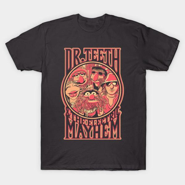 Dr. Teeth Muppets Mostra T-shirt da uomo T-shirt da uomo stampata nera T-shirt in cotone da uomo, 100% cotone, per uomo