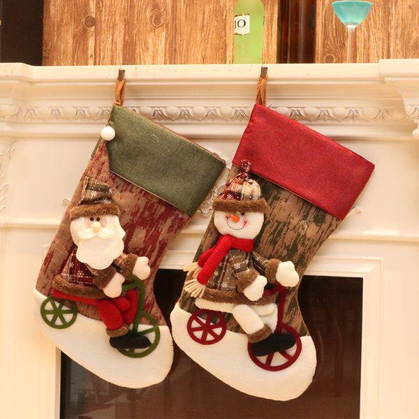 2018 NEW Christmas Decoration Santa Claus Snowman Elk Bear Socks Christmas Stocking Gift Bag Candy Bag Tree Hanging Ornaments K5